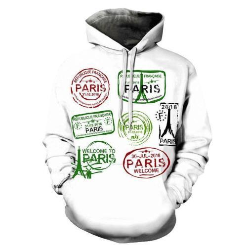 Paris Stamp 3D Hoodie Sweatshirt Pullover