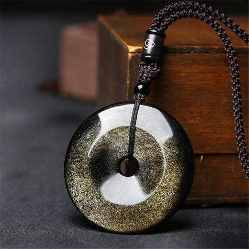 Golden Black Obsidian Pendant Necklace