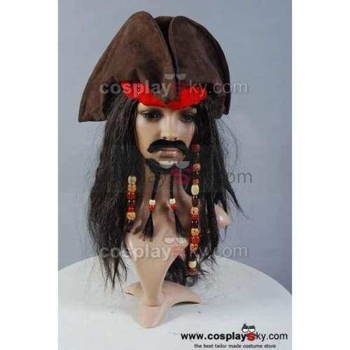 Pirates Of The Caribbean Jack Sparrow Hat Wig Headband Set
