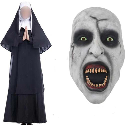 The Nun Costume Mask Cosplay Adult Long Black Scary Nuns Ghost Clothes Uniform