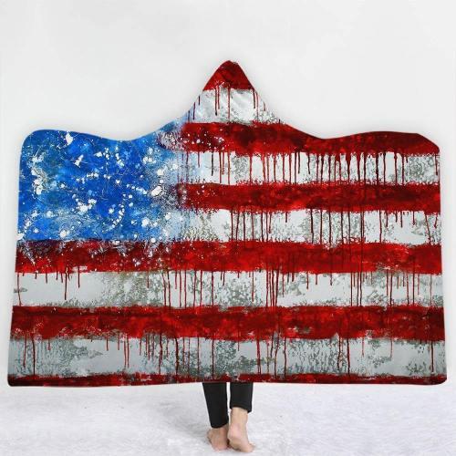Paint Splash Usa Flag Hooded Blanket