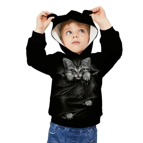Kids Cute Cat Ear Hoodie 3D Printed Sweatshirt