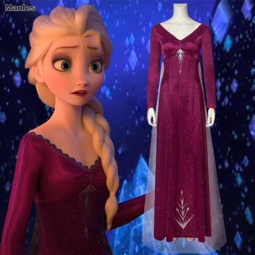 Frozen 2 Princess Elsa Costume Cosplay Fancy Dress Ice Snow Queen Grow Princess Girls Diamond Red Dress Adult Halloween Carvinal Outfit