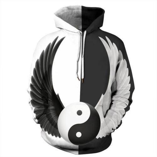 Mens Hoodies 3D Graphic Printed Wing Pattern Pullover Hoodie