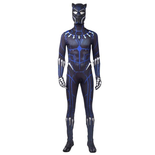 Black Panther Cosplay Costume With Blue Printing