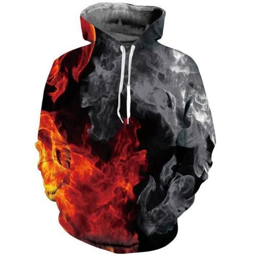 Mens Hoodies 3D Printed Smoke And Fire Printing Hooded