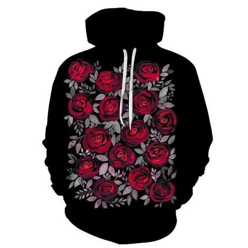 Rose Flower Black 3D Sweatshirt Hoodie Pullover