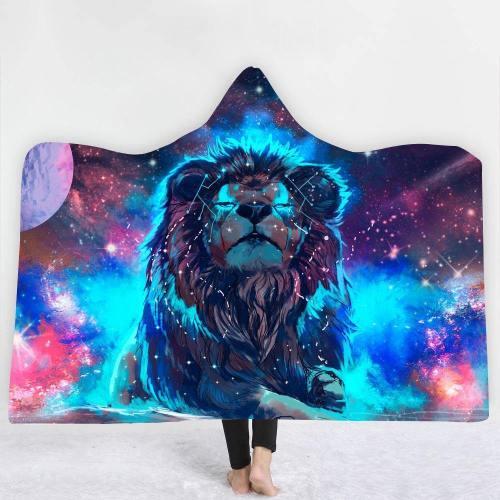 Astronomical Spiritual Lion Hooded Blanket