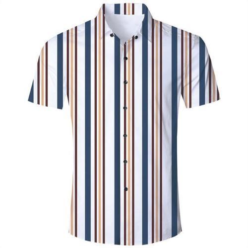 Men'S Hawaiian Short Sleeve Shirts White Blue Stripes Print
