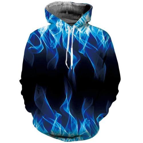 Mens Hoodies 3D Printing Blue Fire Printed Winter Hoodies Tracksuits