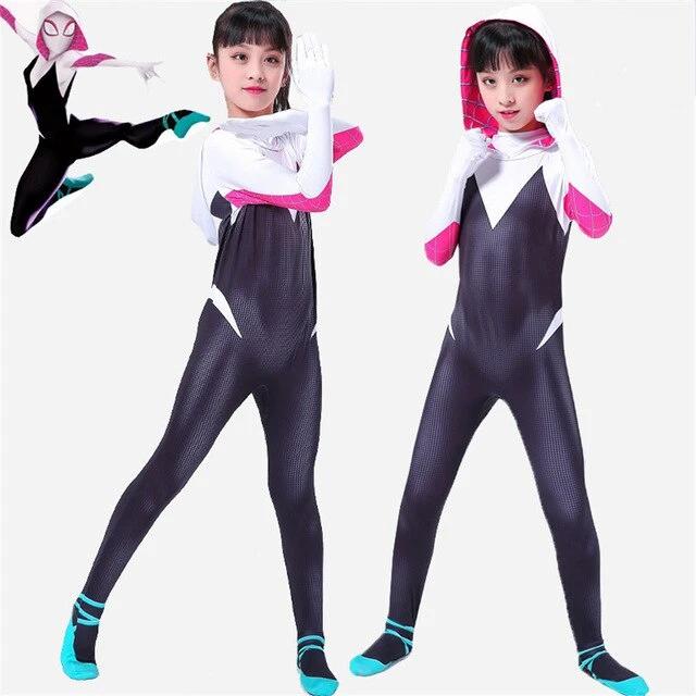 Spider Gwen Stacy Cosplay Girls Spiderman Jumpsuit Kids Costumes