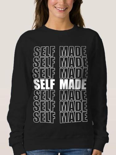 Womens Long Sleeve Top Self Made Crewneck Pullover Sweatshirt