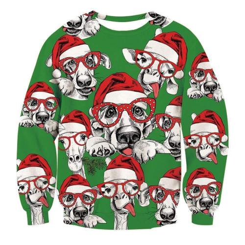 Mens Pullover Sweatshirt 3D Printing Christmas Dog Pattern