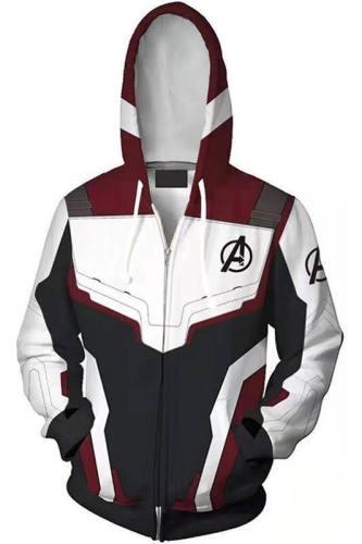 Teen Hoodie Avengers 4 Captain America Suit 3D Zip Up Sweatshirt Unisex