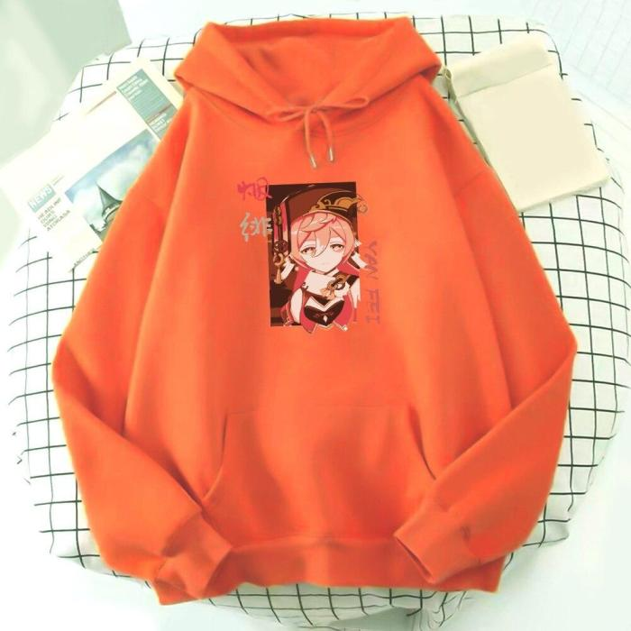Genshin Impact Hoodie Yanfei  Game Streetwear Kawaii Aesthetic Printing Harajuku Kpop Unisex Sweatshirt Top