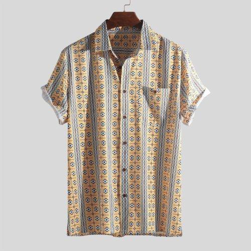 Mens Holiday Floral Striper Short Sleeve Shirts-13
