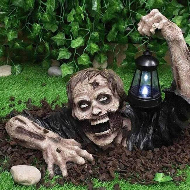 Halloween Zombie With Led Lantern Resin Crafts Outdoor Decorations
