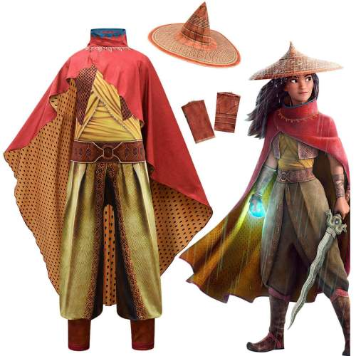 Kids Girls Anime Raya And The Last Dragon Outfit Cosplay Costume