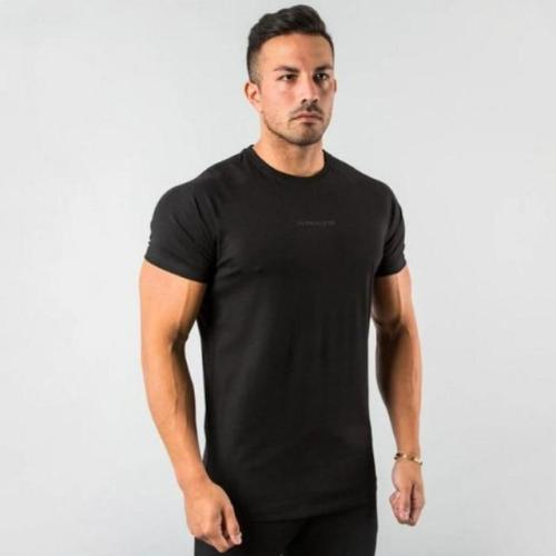 Gym Cotton T Shirt Men Fitness Workout Skinny Short Sleeve T-Shirt