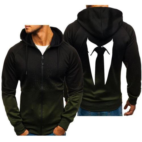 Men'S Gradient Color Zipper Casual Sportswear Hoodies