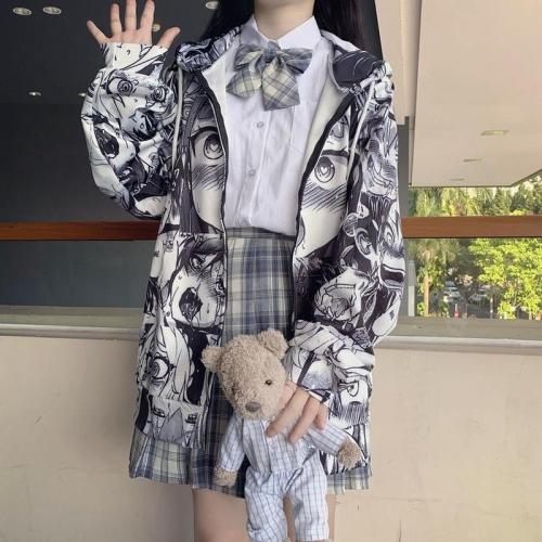 Autumn Thin Cute Kpop Sweatshirt Japanese Hip Hop Hoodie Pocket Casual Coat