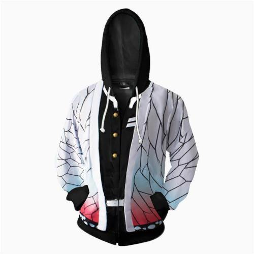 Demon Slayer White Anime Unisex 3D Printed Hoodie Sweatshirt Jacket With Zipper