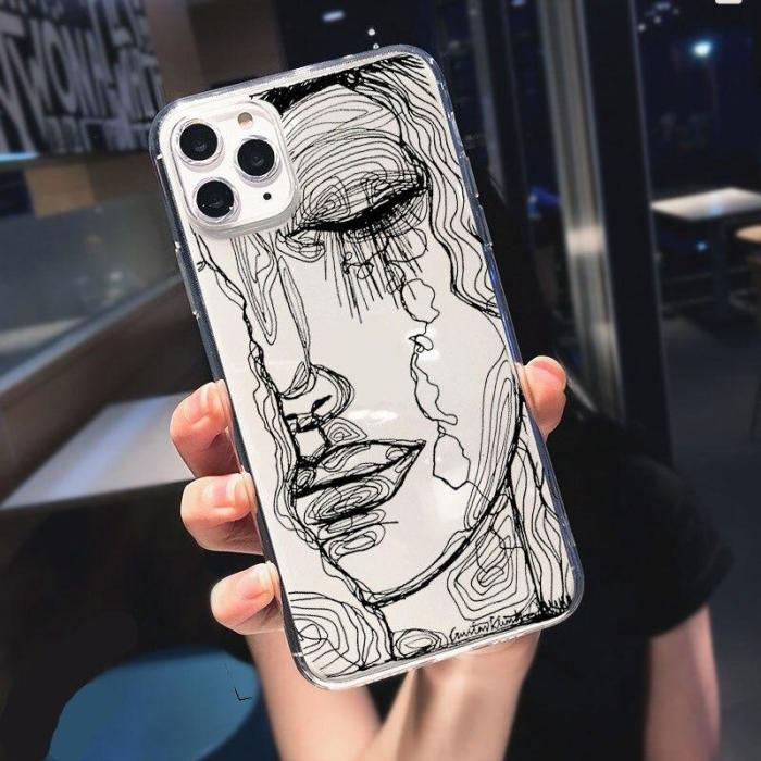 Scribbled Line Art Phone Case For Iphone