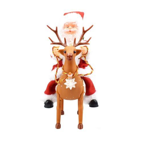 Christmas Gift Music Walking Riding Deer Santa