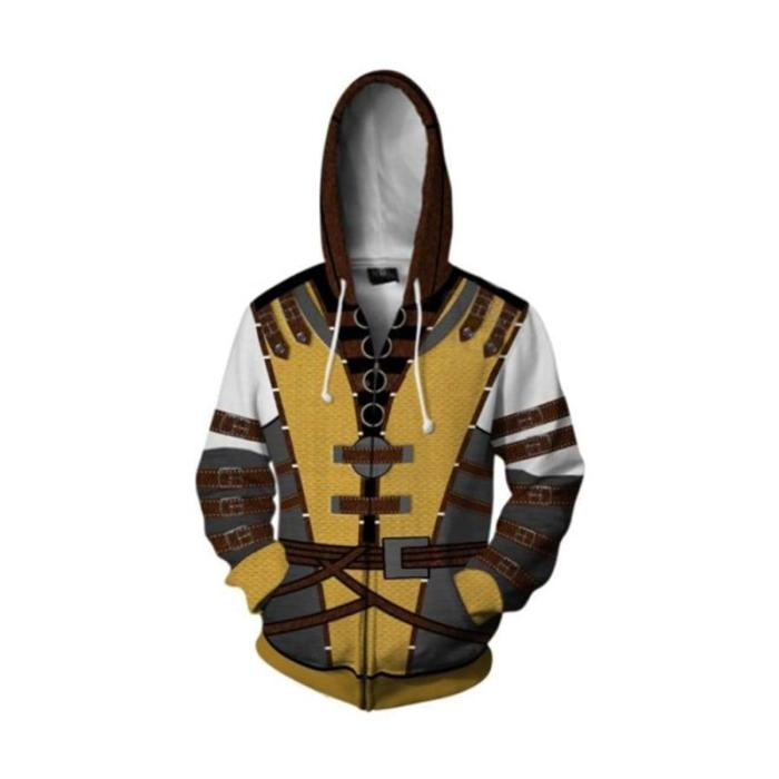 Mortal Kombat 11 Game Cosplay Costume Hoodies 3D Printed Polyester Zipper Jacket