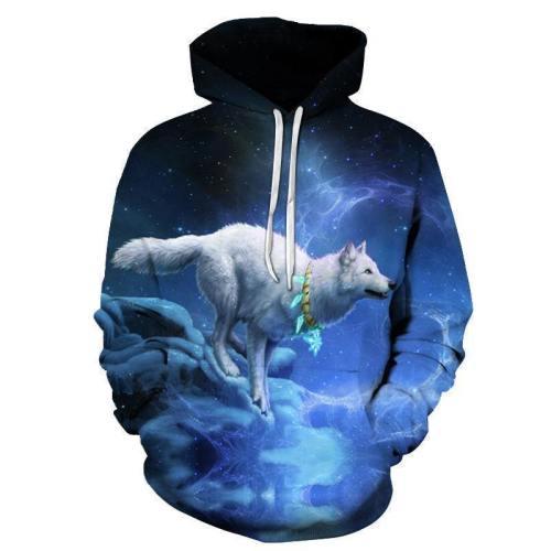 Night Wolf 3D Sweatshirt Hoodie Pullover