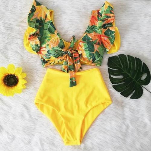Double Shoulder Ruffle Bikini Set