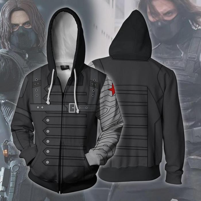 Avengers Movie Winter Soldier Bucky Barnes White Wolf Cosplay Unisex 3D Printed Hoodie Sweatshirt Jacket With Zipper