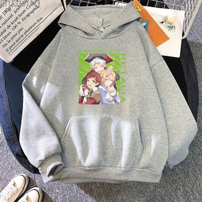 Hetalia Anime Loose Aesthetic Pink Oversize Sweatshirts Long Sleeve Trendy Harajuku Hoodie