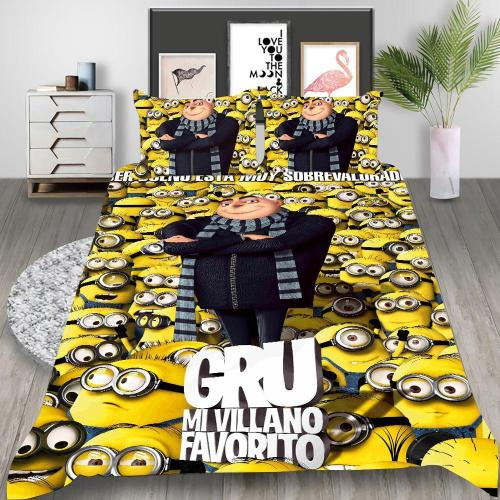 Minions Cosplay Bedding Set Duvet Cover Pillowcases Halloween Home Decor