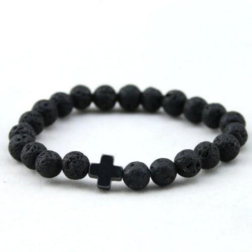 Black Cross Lava Beads Bracelet