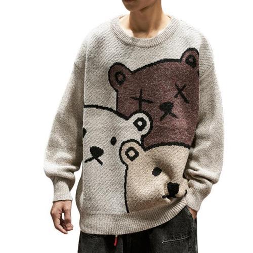 Cartoon Bear Sweater Men Winter Men Clothing Fashional Long Sleeve Knitted Pullover Sweater Oversized   Cotton Coat