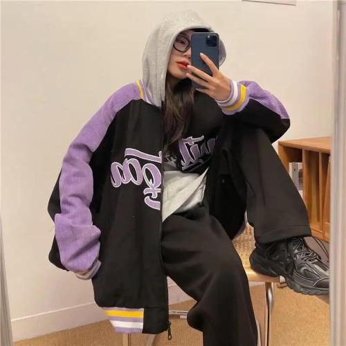 Women'S Letter Embroidery Baseball Jacket Color Block Vintage Harajuku Jacket Oversize Coats Street Wear