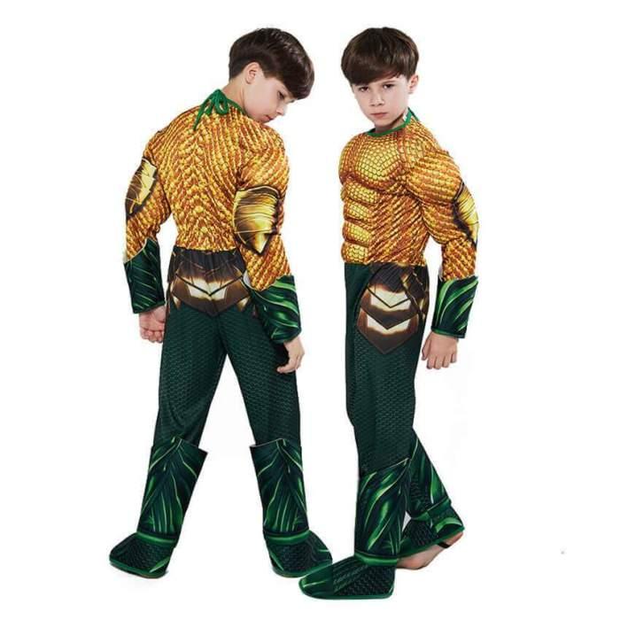 Kids Boys Aquaman Arthur Curry Jumpsuit Bodysuit Cosplay Costume
