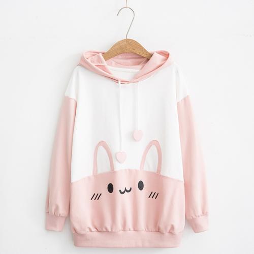 Rabbit Print Hoodie Sweatshirt