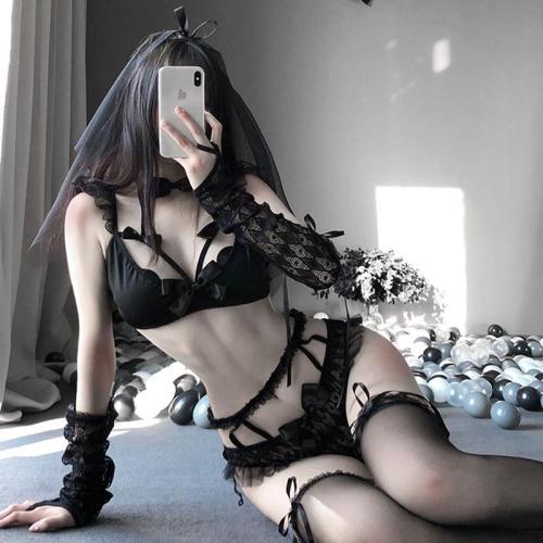 Lace Bow Ruffle Bra Panties Stockings Lingerie