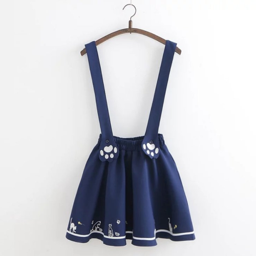 Cat Claw Embroidery Sweet Overall Dress