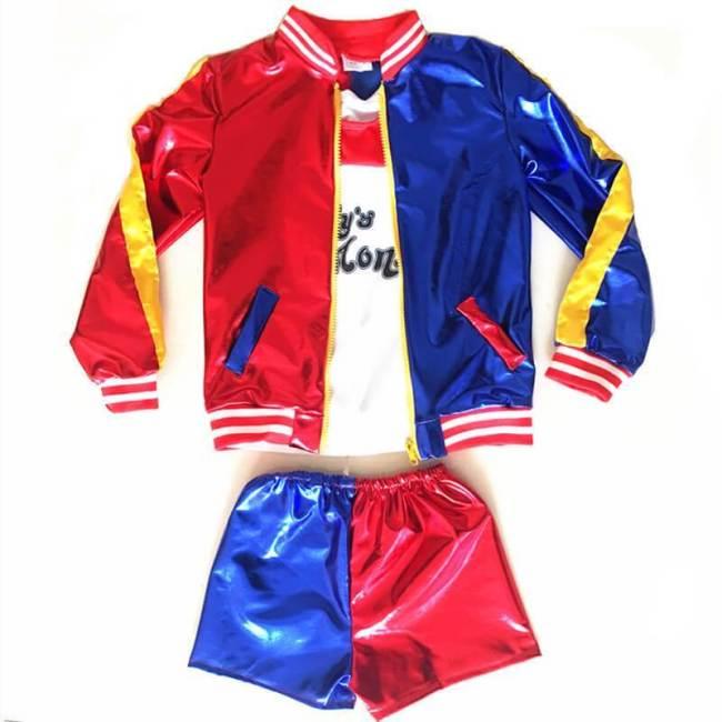 Kids Girls Harley Quinn Shirt Jacket Pants Full Set Cosplay Costumes