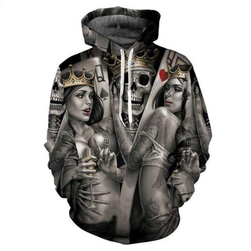 Poker Skull King 3D Hoodie