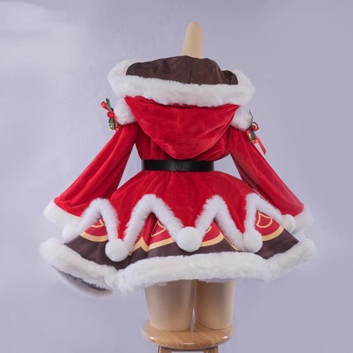 Genshin Impact Barbara Christmas Dress Red Uniform Cosplay Costumes