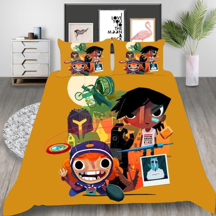 Game Knights And Bikes Cosplay Bedding Set Duvet Cover Pillowcases Halloween Home Decor