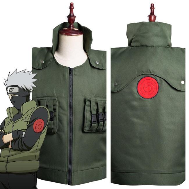 Naruto Hatake Kakashi Green Unisex Vest Halloween One Piece Cosplay Costumes