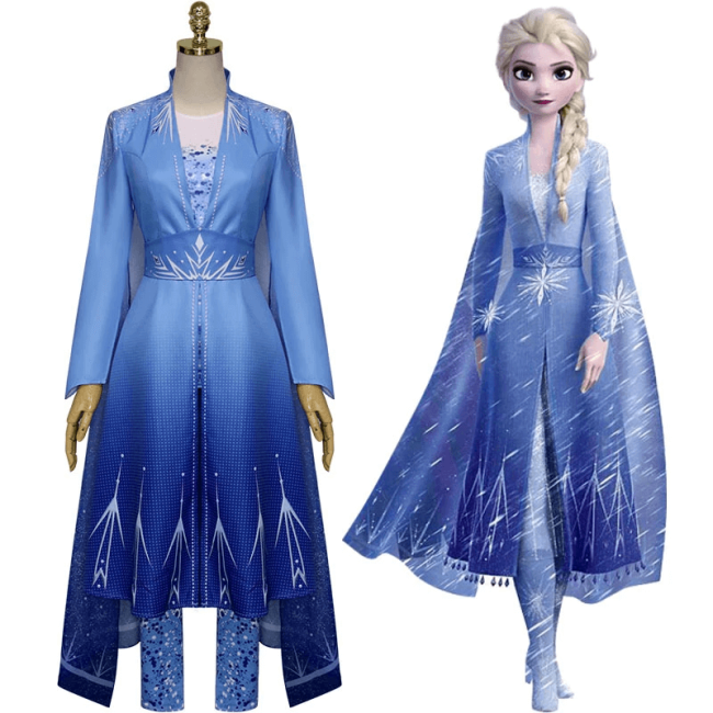 Frozen 2 Princess Elsa'S Travel Outfit Dress Halloween Cosplay Costume