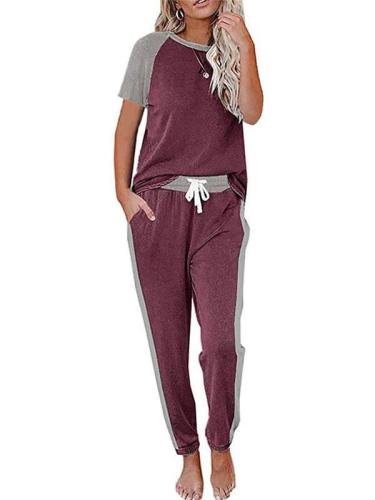 Color Block Short Sleeve T Shirt Jogger Pants Two Piece Loungewear