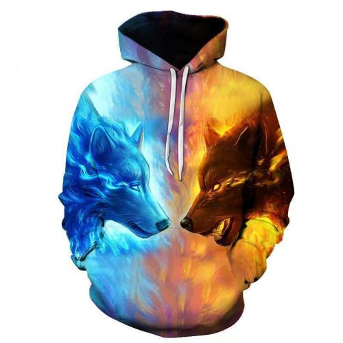 Ice And Fire Wolves 3D Sweatshirt, Hoodie, Pullover