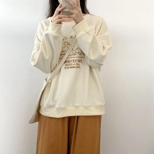 Duckling Letter Embroidery Women Sweatshirts Loose Harajuku Oversize Hoodie Sweatshirt Pullover